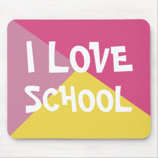 Colourful I Love School Girl Pink custom Text Mouse Pad