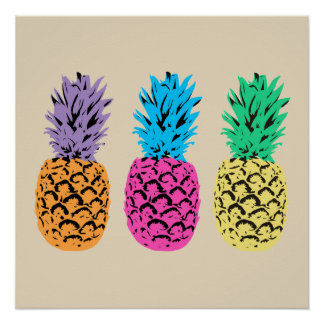 Colourful illustrated Pineapples Poster