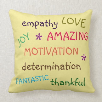 Colourful Inspirational Words Throw Pillow