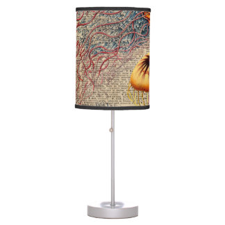 Colourful Jellyfish Sea Life Vintage Old Book Page Table Lamps