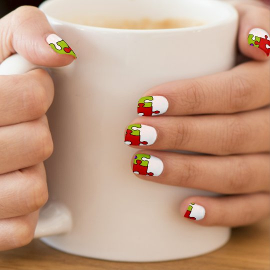 Colourful jigsaw puzzle design nail art