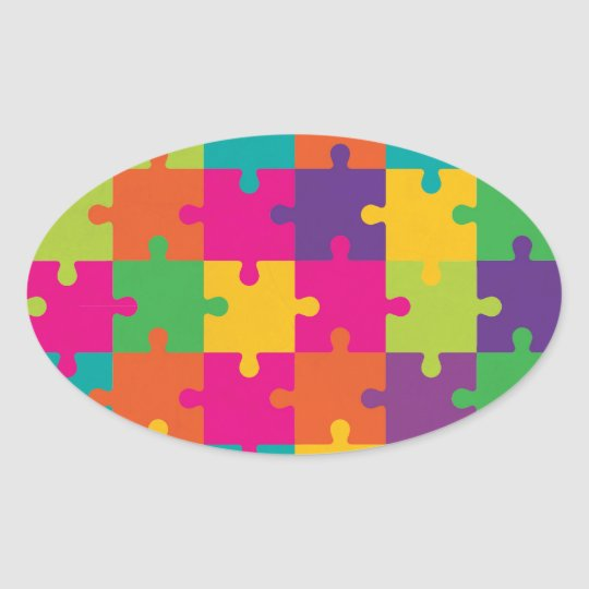Colourful Jigsaw Puzzle Pattern Oval Sticker