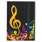 Colourful Jumbled Music Notes on Black Case For iPad Air