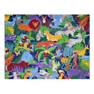Colourful Jungle Animals Postcard