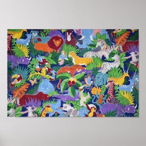 Colourful Jungle Animals Poster