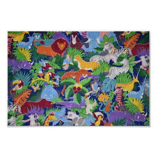 Colourful Jungle Animals Poster
