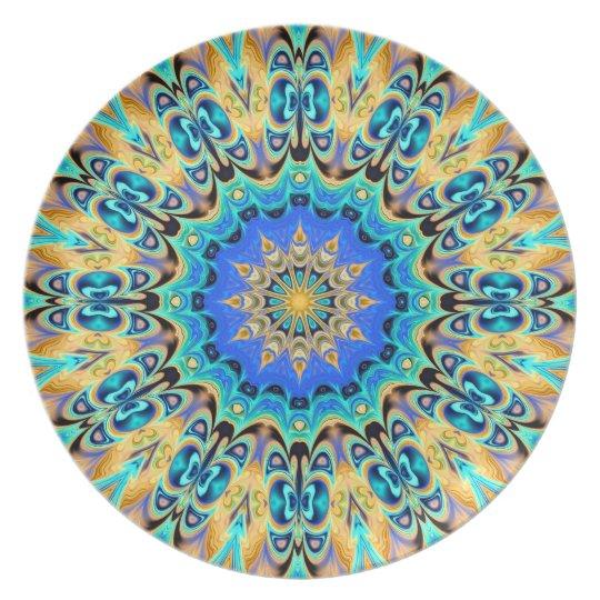 Colourful kaleidoscope plate