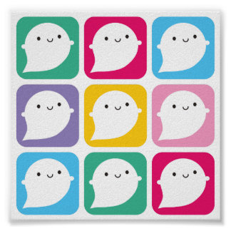 Colourful Kawaii Little Ghosts Poster