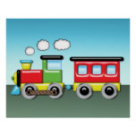 Colourful Kid;s Locomotive & Caboose Poster