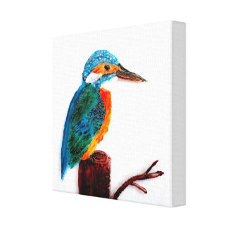 Colourful Kingfisher Bird Art Canvas Print