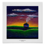 Colourful landscape morning light new year art poster