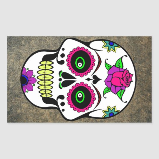 Colourful Large Candy Skull Rectangular Sticker