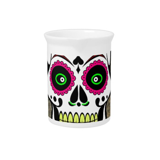 Colourful Large Sugar Skull Pitcher