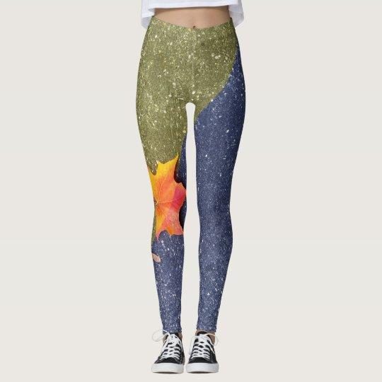 Colourful leaf leggings