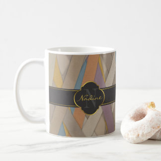 Colourful leather stripe coffee mug