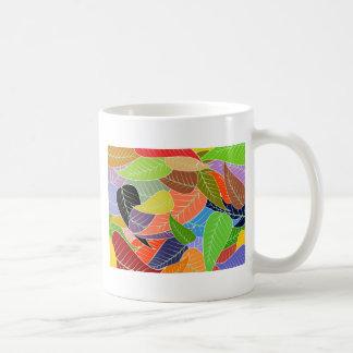 colourful leaves basic white mug