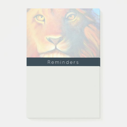 Colourful Lion Head Portrait Oil Painting Post-it® Notes