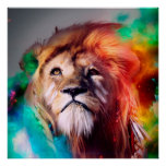 Colourful lion looking up Feathers Space Universe Poster