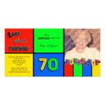 Colourful Look Whos Turning 70 Birthday Invite Customized Photo Card