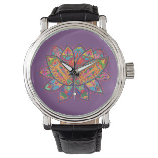 Colourful lotus flower watch