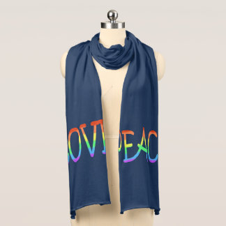 Colourful Love Peace Word Jersey Scarf