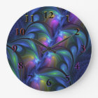 Colourful Luminous Abstract Blue Pink Green Large Clock