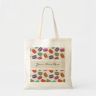 Colourful Macaroons Pattern on Grey with Polka Tote Bag
