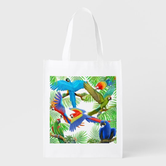 Colourful Macaw Parrot Jungle Grocery Bag