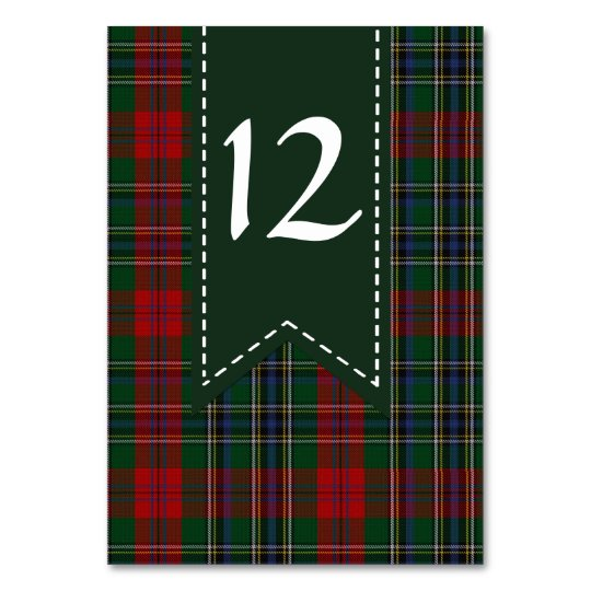 Colourful MacLean Plaid Wedding Table Number