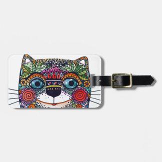 Colourful magic cat luggage tag