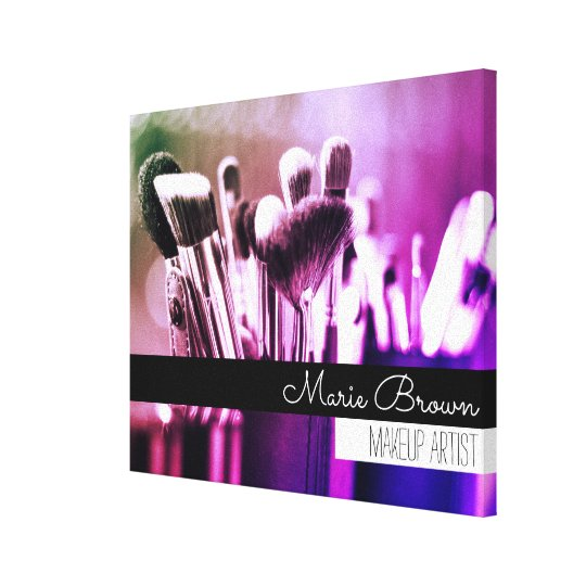 Colourful Makeup Brushes with Custom Name Canvas Print