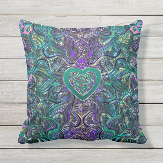 Colourful Mandala With Celtic Heart Outdoor Pillow