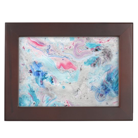 Colourful  Marble Swirls Print Keepsake Box