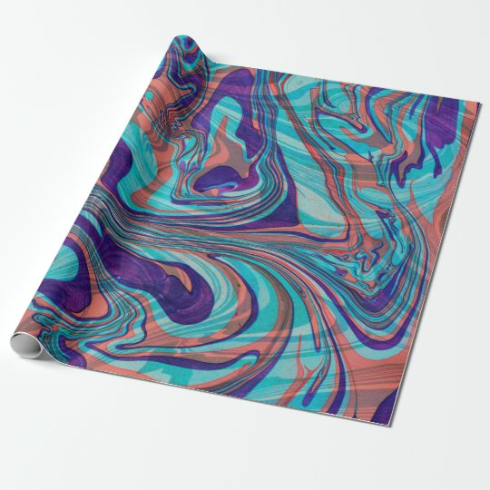 Colourful Marbleized Swirly Background Wrapping Paper