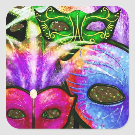 Colourful Mardi Gras Masks Stickers