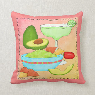 Colourful Margarita Guacamole Fun Celebrate Throw Pillow