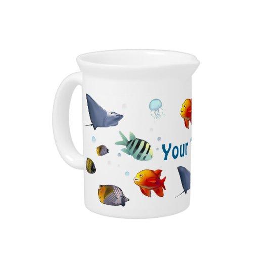 Colourful Marine Creatures Beverage Pitcher