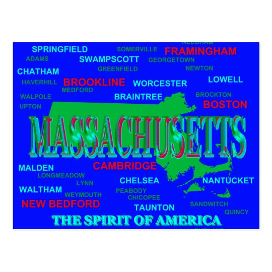 Colourful Massachusetts State Pride Map Silhouette Postcard