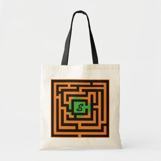 Colourful Maze with Custom Monogram Green Tote Bag