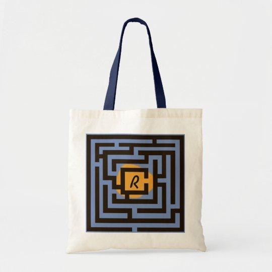 Colourful Maze with Custom Monogram Orange Tote Bag