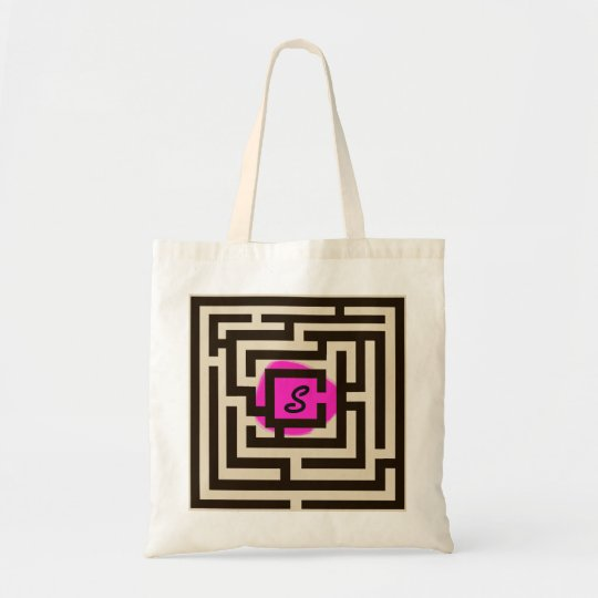 Colourful Maze with Custom Monogram Pink Tote Bag