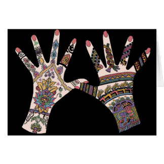Colourful Mehndi hand Greeting Card