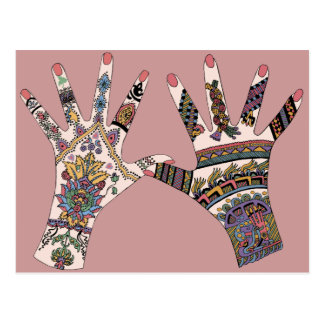 Colourful Mehndi hand Post Card