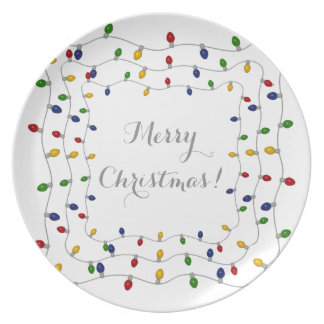Colourful Merry Christmas Lights Dinner Plate
