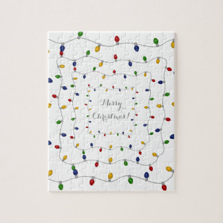 Colourful Merry Christmas Lights Jigsaw Puzzle