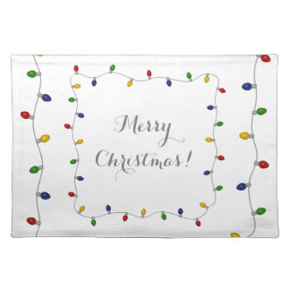 Colourful Merry Christmas Lights Placemat