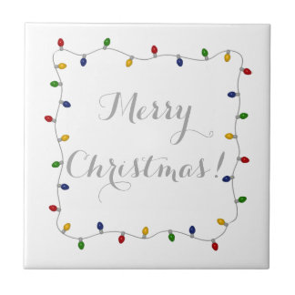 Colourful Merry Christmas Lights Tile