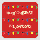 Colourful Merry Christmas tree lights gift tags