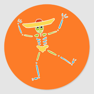 Colourful Mexican Dancing Skeleton Round Sticker