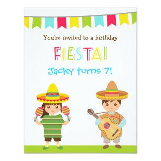 "Colourful Mexican Fiesta Kids Birthday Invitations 4.25"" X 5.5"" Invitation Card"